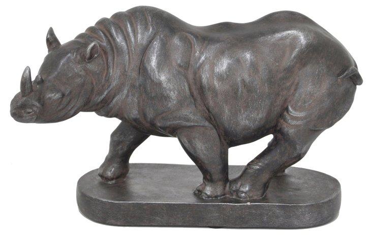 "11"" Rhino Figurine, Black"