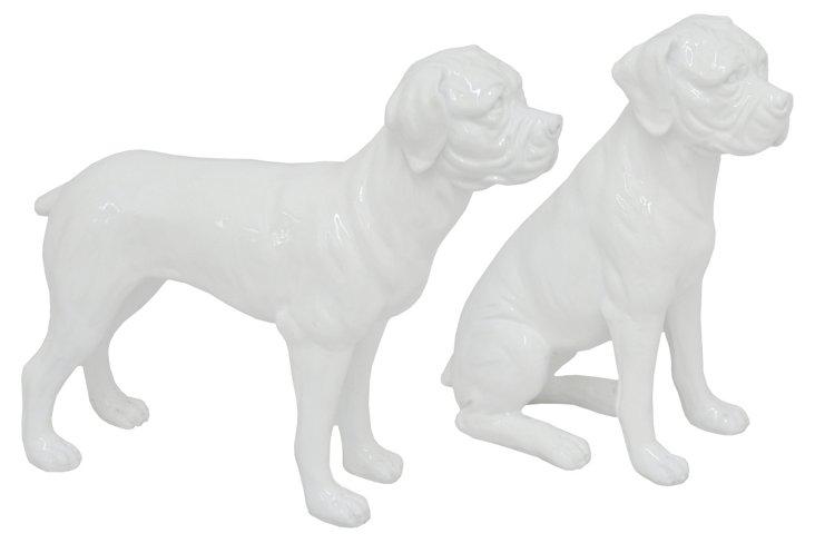 Pair of Dog Figurines, White