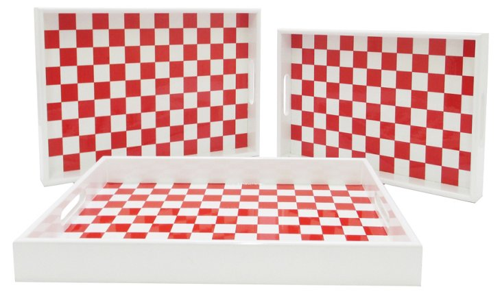 Asst. of 3 Checkered Wood Tray, Red