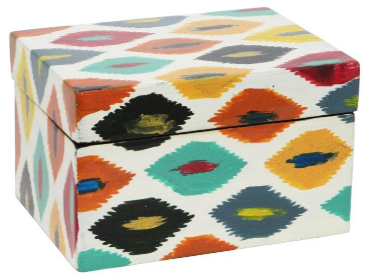 "9"" Ikat Wood Box"