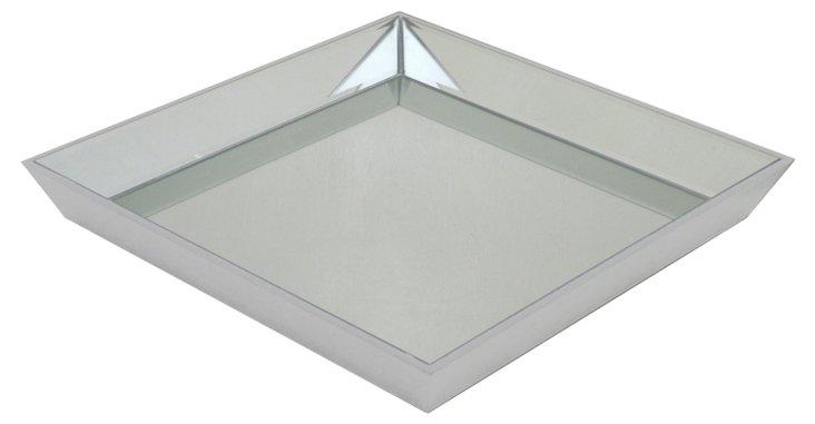 """24"""" Square Mirrored Tray, Silver"""