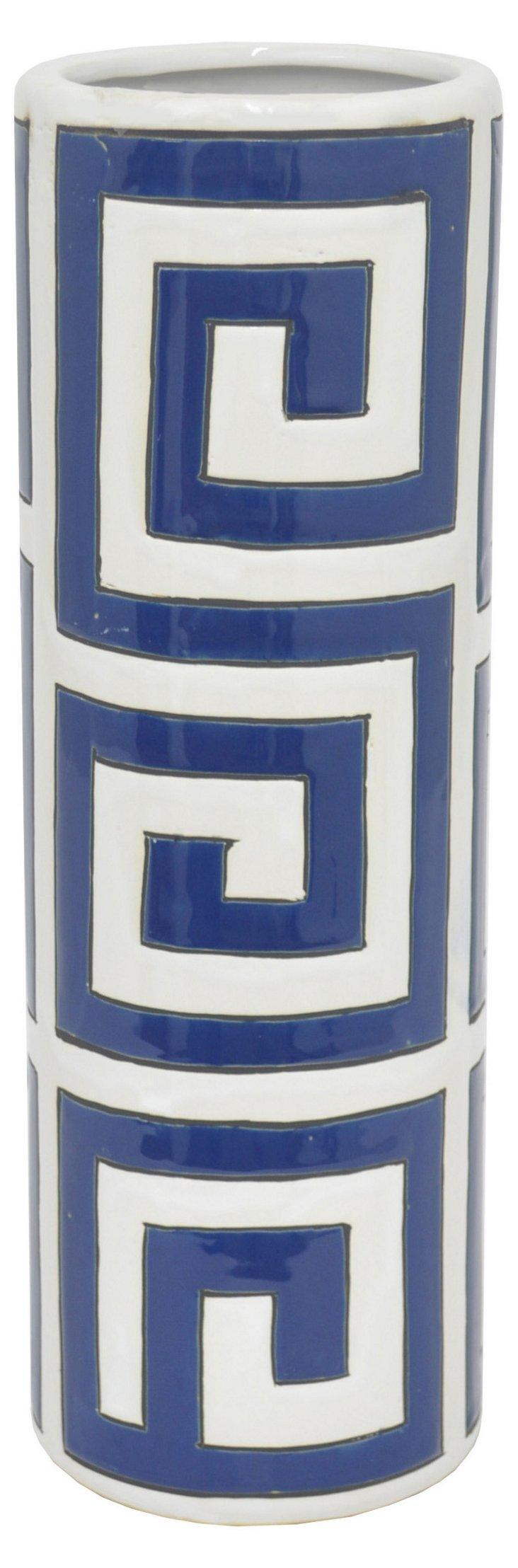"""19"""" Ceramic Greek Key Vase, Navy/White"""