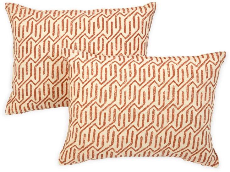 Michael Devine Fabric Pillows, Pair VI