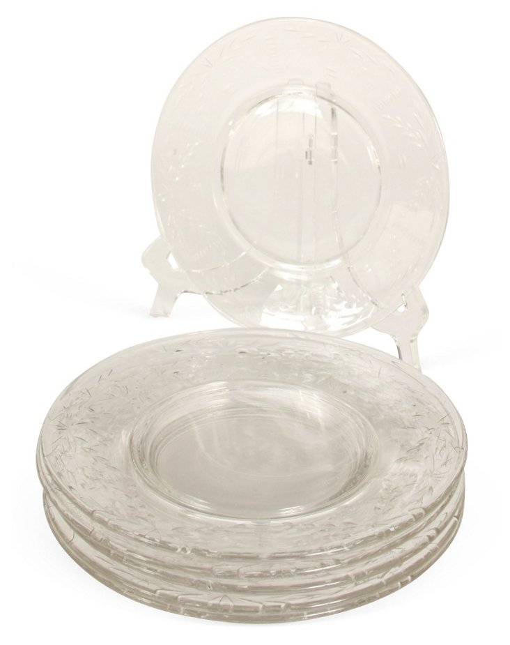 Glass Luncheon Plates, Set of 6
