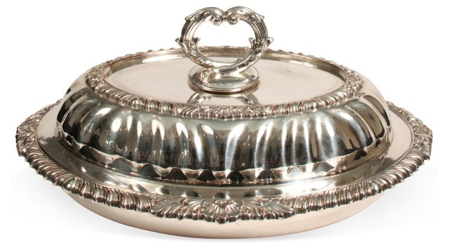 Oval Silverplate Covered Serving Piece