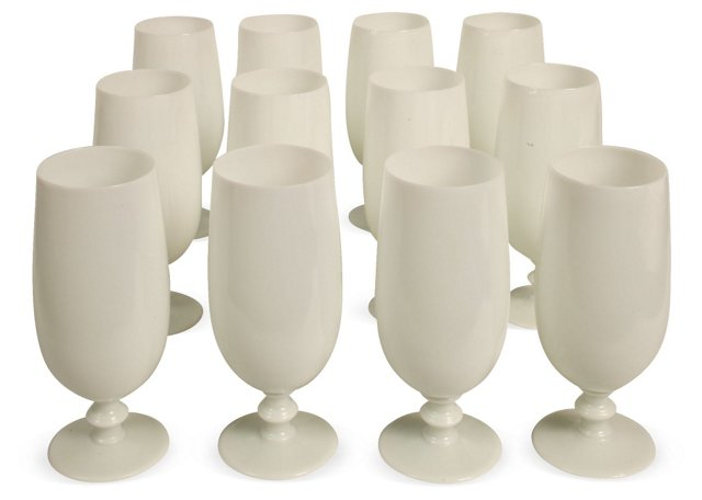 French Opaline Tea Glasses, Set of 12