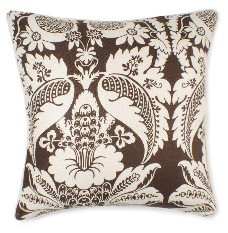 Damask 22x22 Cotton-Blend Pillow, Brown