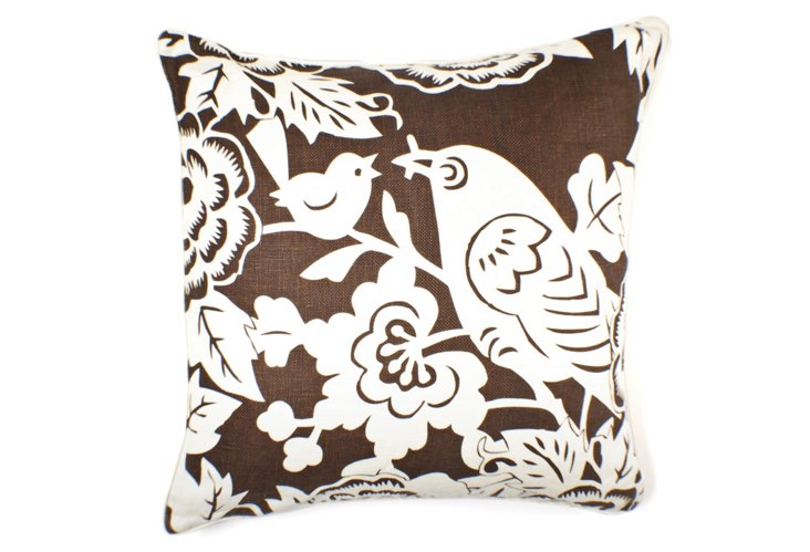 Robin 22x22 Cotton-Blend Pillow, Brown