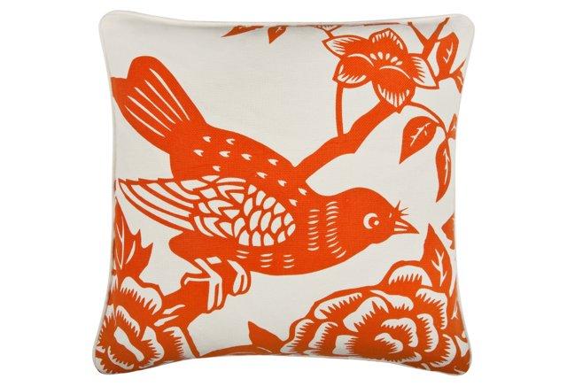 Perch 18x18 Cotton Pillow, Orange