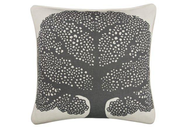 Arbor 18x18 Cotton Pillow, Charcoal