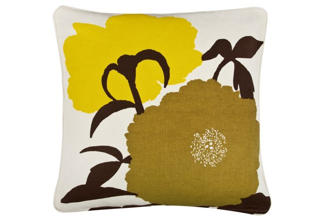 Peonies 18x18 Cotton Pillow, Multi