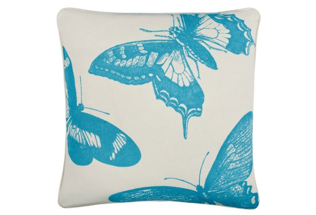 Flutter 18x18 Cotton Pillow, Aqua