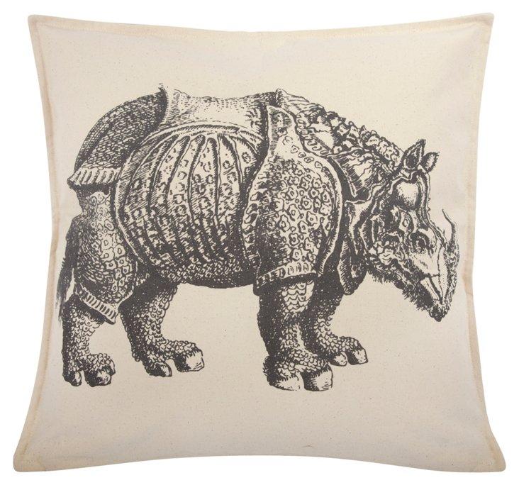 Rhino 18x18 Pillow, Charcoal