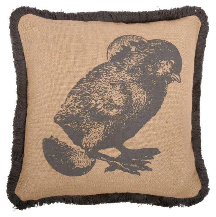 Chick 16x16 Jute Pillow, Charcoal