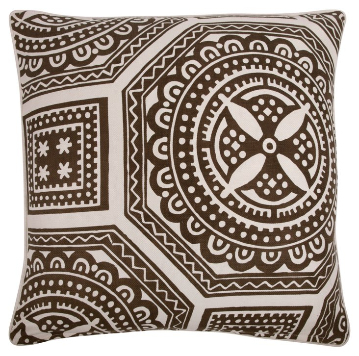 Medallions 22x22 Pillow, Brown