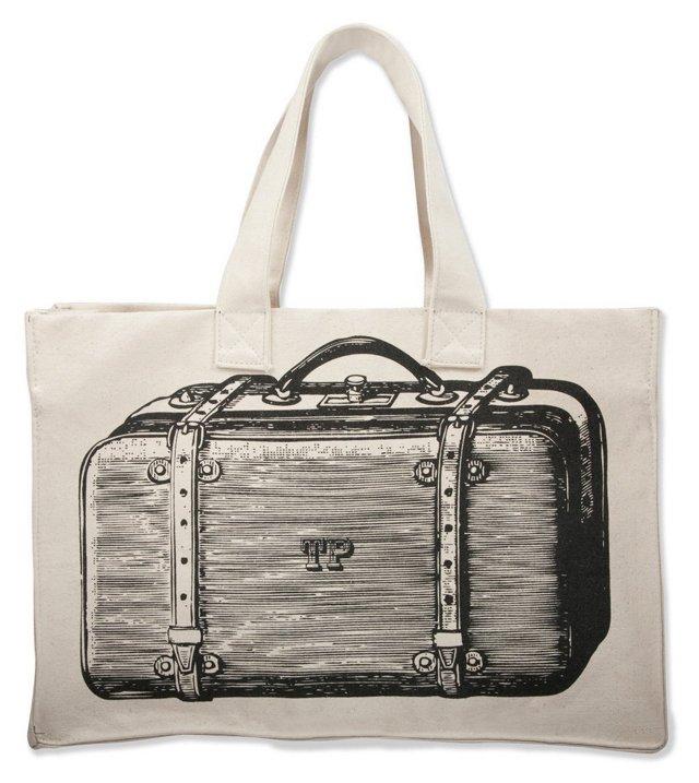 Cotton Suitcase Tote, Black
