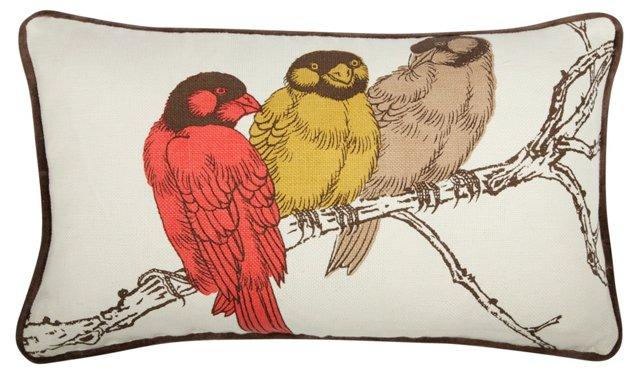 Birds 12x20 Linen-Blend Pillow, Multi