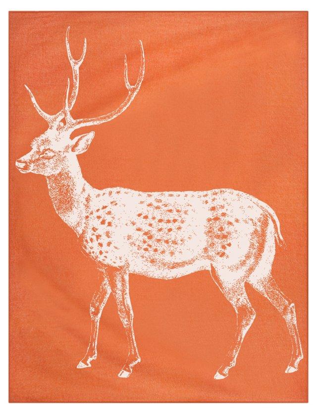 Deer Alpaca Throw, Orange