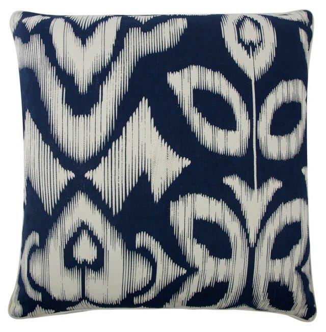 Ikat 22x22 Cotton-Blend Pillow, Indigo