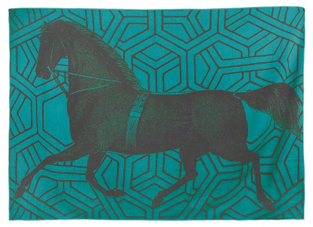 Horse Alpaca Throw, Aqua