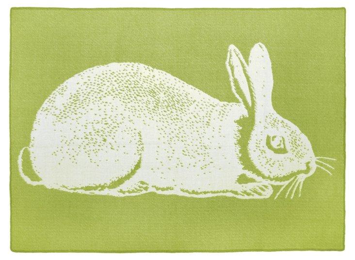Bunny Alpaca Throw, Green