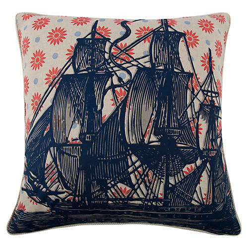 Ship 22x22 Pillow, Navy