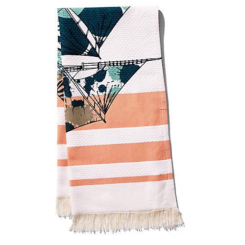 Dazzle Ship Banya Hand Towel, Orange/Aqua