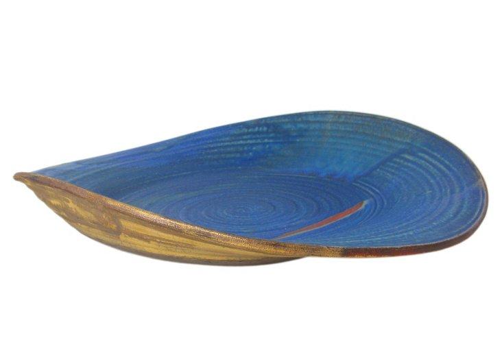 Wheel-thrown Jade Platter, Cobalt