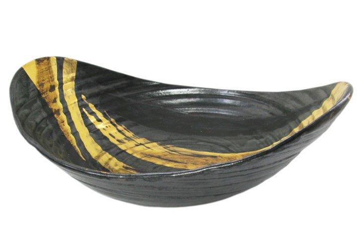 Wheel-thrown Firestorm Bowl, Gold/Ebony