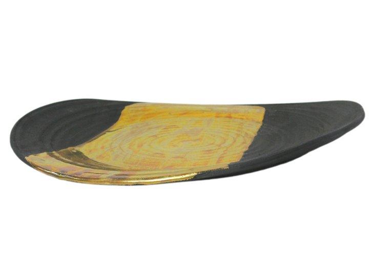 Wheel-thrown Urban Platter, Ebony/Gold
