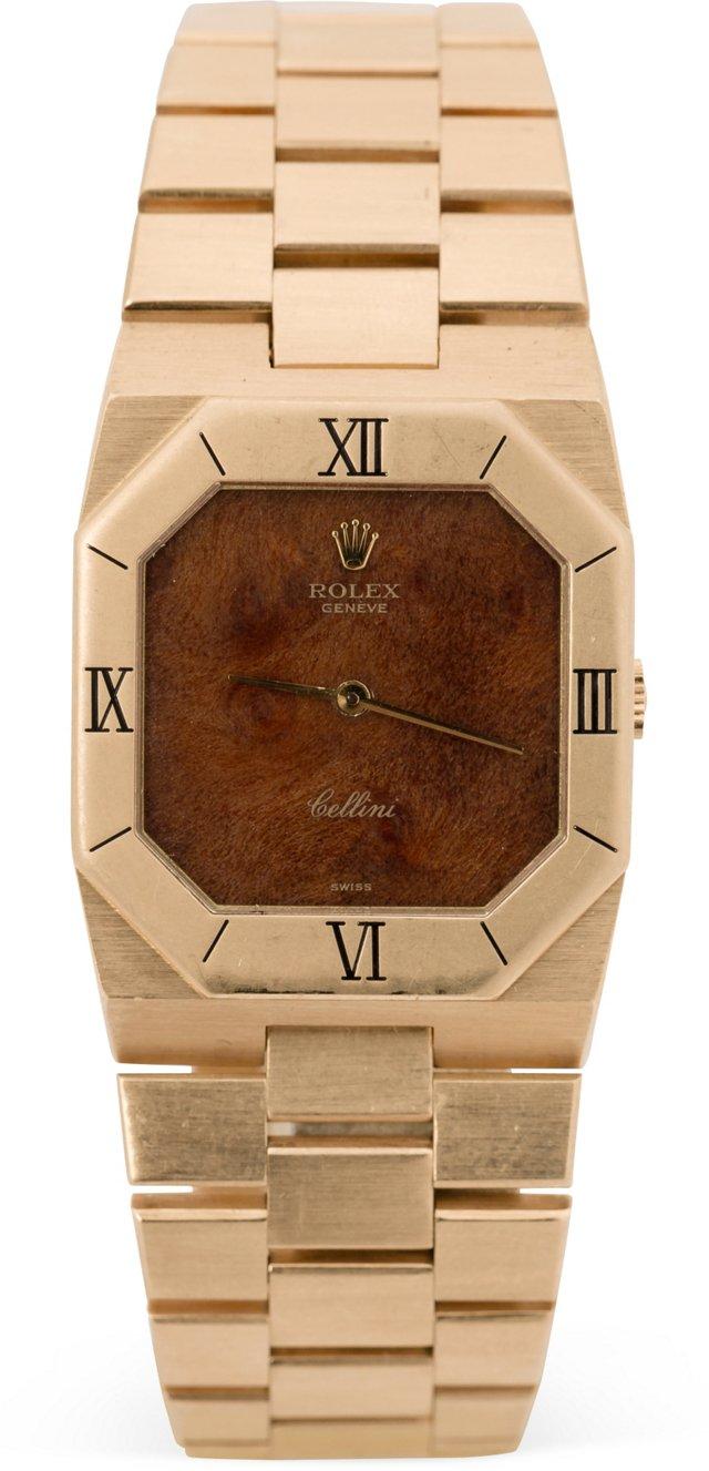 18K Gold & Burl-Wood Rolex Cellini