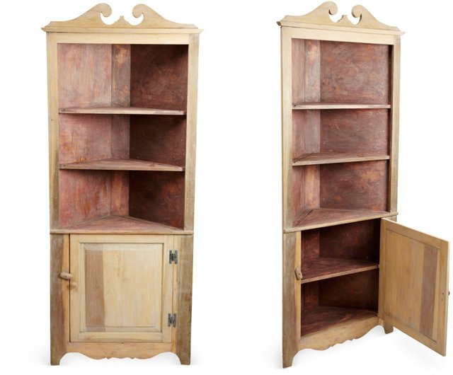 Country Corner Cabinets, Pair