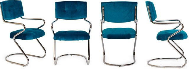 Chrome & Teal Chairs, Set of 4