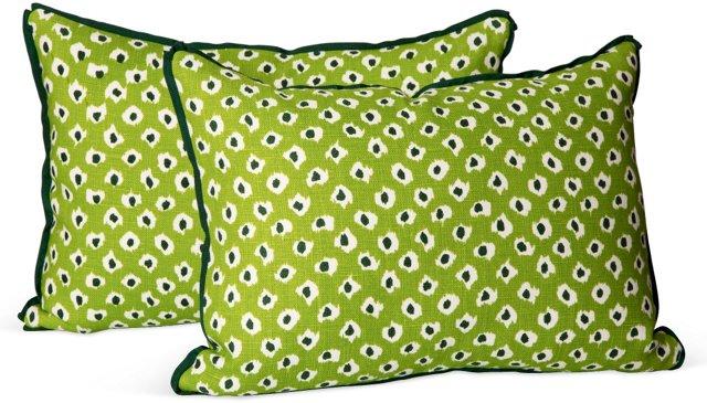 Quadrille Maroc Green Pillows, Pair