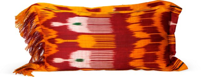 Orange Fringe Silk Ikat Pillow