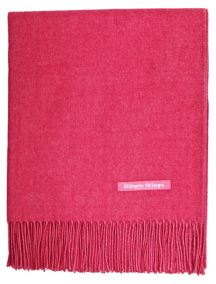 Solid Alpaca-Blend Throw, Pink