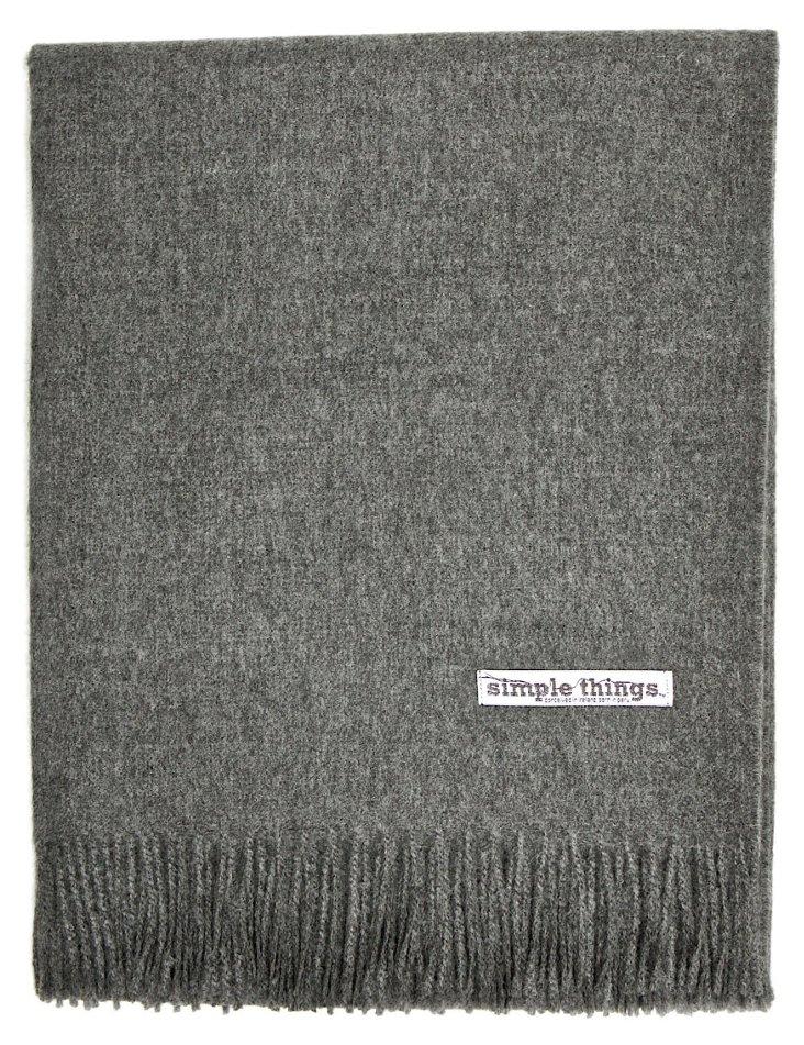 Alpaca Wool Throw, Gray