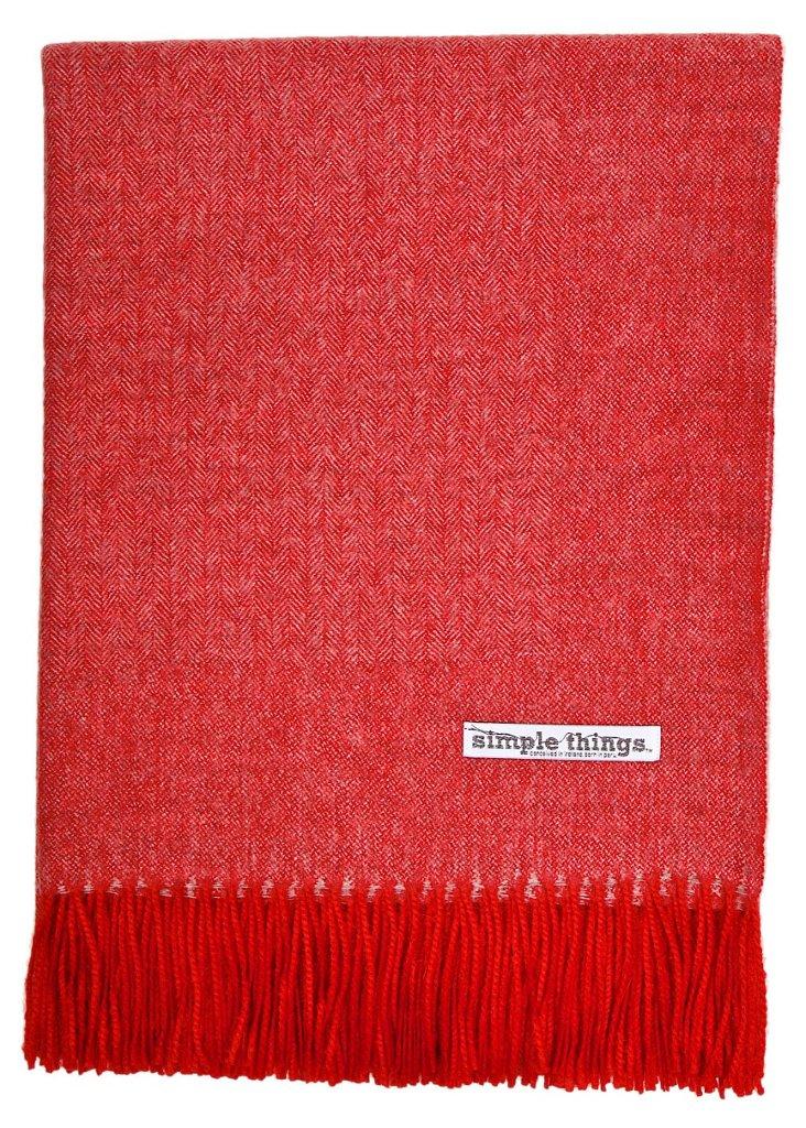 Herringbone Alpaca Throw, Red