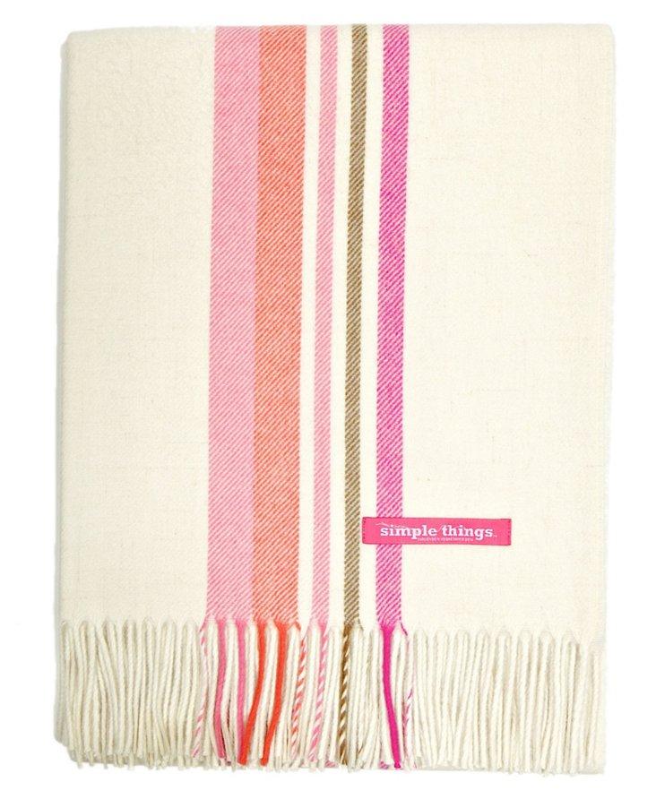 Stripes Alpaca Throw, Cream/Pink