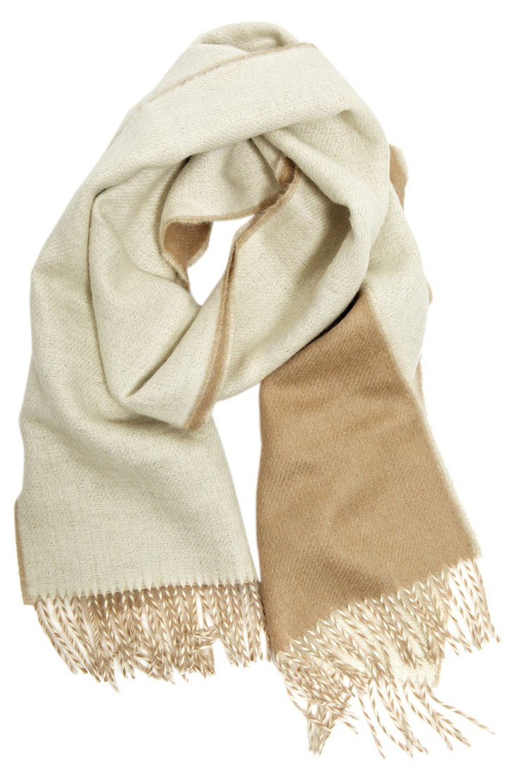 Double Sided Scarf, Tan/Natural