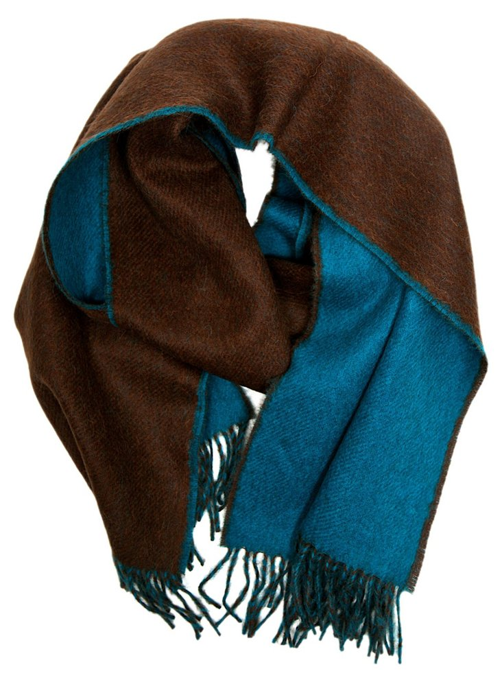 Double Sided Scarf, Cocoa/Azure