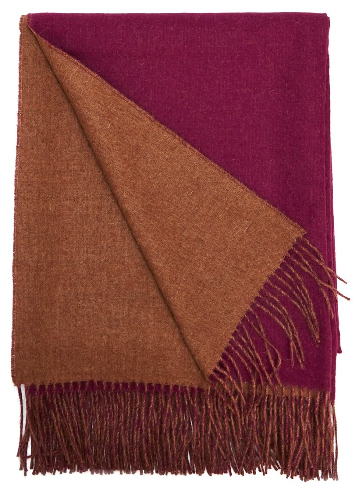 Reversible Alpaca Throw, Maroon/Brown