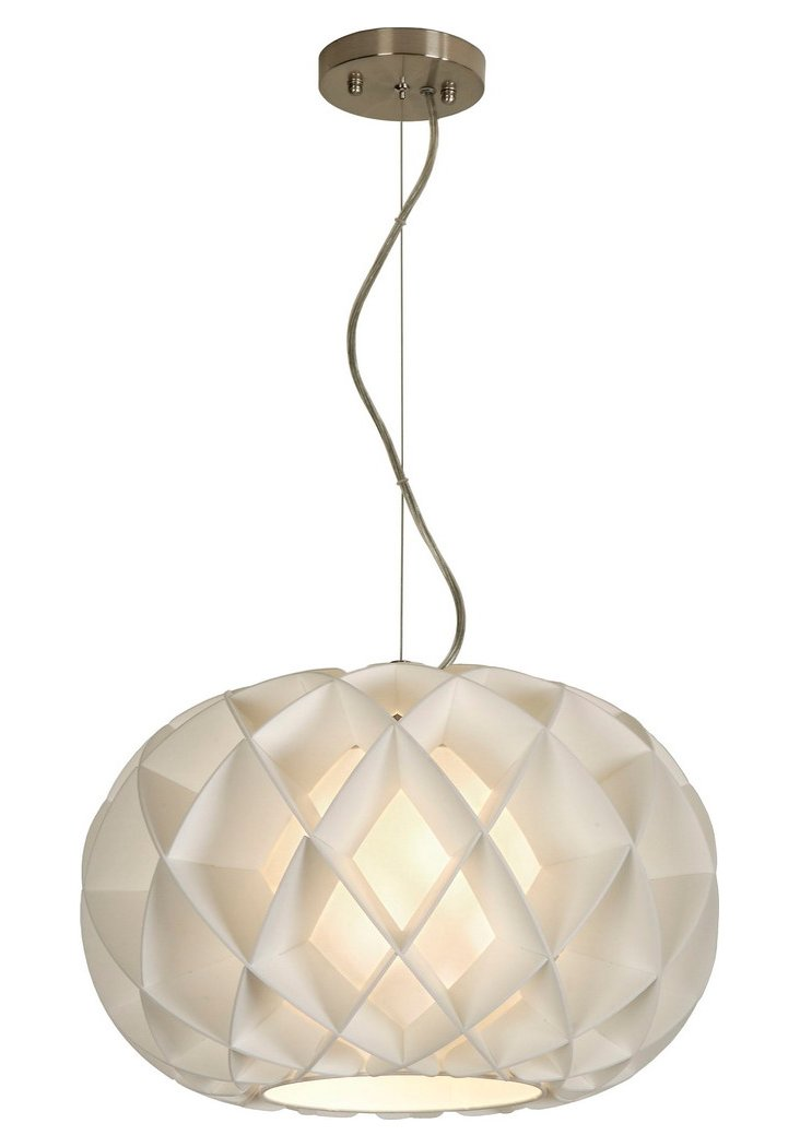 Honeycomb Oval Pendant, Nickel