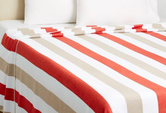 King Deck Stripe Blanket, Coral/Fawn