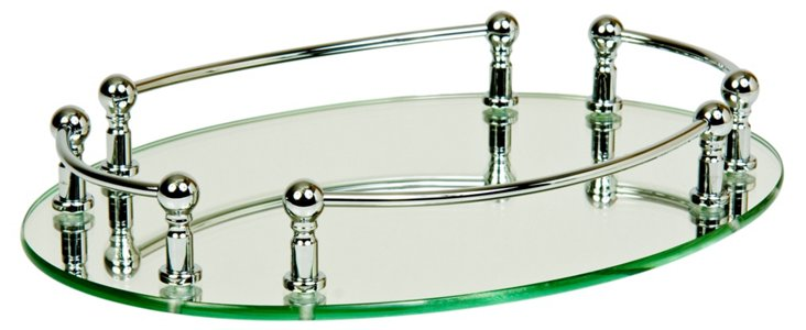 Oval Vanity Mirror Rail Tray, Chrome