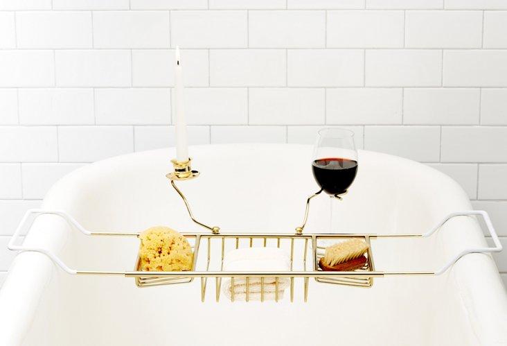 Bath Caddy w/ Candle & Wine Holder