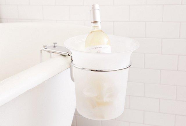 Frosted Acrylic Bath Ice Bucket, Chrome