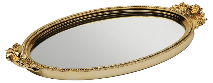 Antique Rose Mirror Tray, Gold