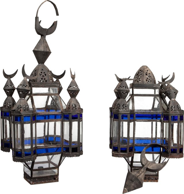 Antique Moroccan Light Fixtures, Pair