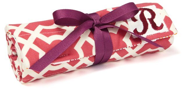 Monogrammed Geo Jewelry Roll, Raspberry